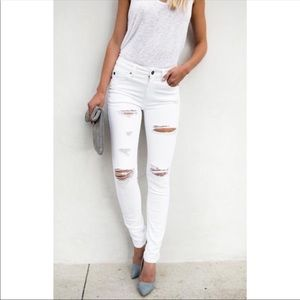 Denim - White distressed skinny jeans